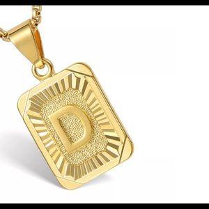 "Gold Filled Letter D Pendant 18"" Long Necklace"